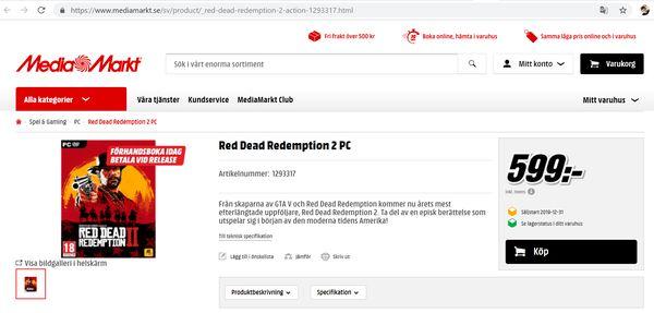 Red Dead Redemption 2 توسط یک خرده فروشی اروپایی برای PC لیست شد