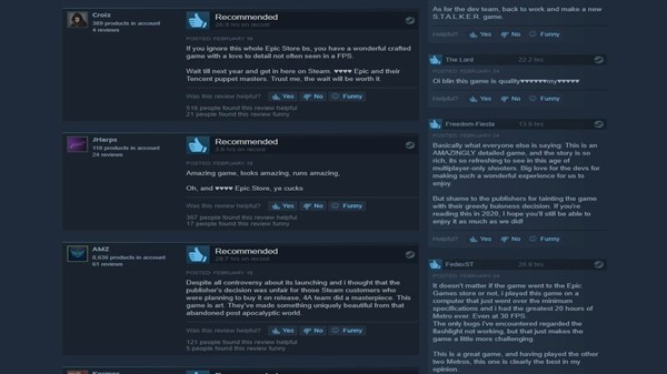 Metro Exodus بازخوردهای زیادی را از طرف کاربران Steam ذریافت کرده است